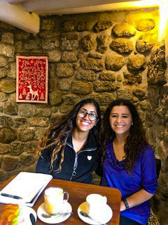 Clare and Karina, her Spanish teacher